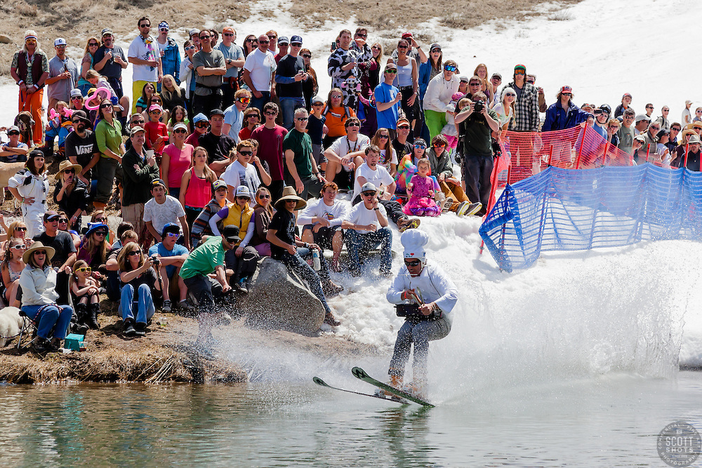 """""""Cushing Classic at Squaw Valley 13"""" - Photograph of a skier crossing a pond during the Cushing Classic at Squaw Valley, USA."""