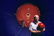 Burton Richter (b.1931), Director of the Stanford Linear Accelerator Center (SLAC), photographed during the construction of the Stanford Linear Collider in [1988] Richter won the 1976 Nobel Prize for Physics, following his discovery of the Psi- particle at the SLAC in 1974. The Prize was shared with Sam Ting of Brookhaven National Laboratory. The discovery of the Psi- particle also implied the existence of two new quarks, Charm and anti- Charm. Richter has been at SLAC since 1964, having also designed the PEP positron-electron storage ring at Stanford. Richter became Director of SLAC in 1984, and now oversees projects such as the Stanford Linear Positron-Electron Collider. MODEL RELEASED [1988]