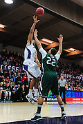 November 28, 2011; Moraga, CA, USA; Weber State Wildcats forward Frank Otis (left) shoots over Saint Mary's Gaels forward Rob Jones (22) during the first half of the Shamrock Office Solutions Classic championship game at McKeon Pavilion. The Gaels defeated the Wildcats 87-70.