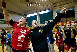 Dragana Cvijic and Alja Jankovic of Krim celebrate after the handball Slovenian cup Finals match  between RK Olimpija and RK Krim Mercator, on March 28, 2010, SD Leon Stukelj, Novo mesto, Slovenia. Krim defeated Olimpija 28-25 and became Slovenian cup Champion. (Photo by Vid Ponikvar / Sportida)