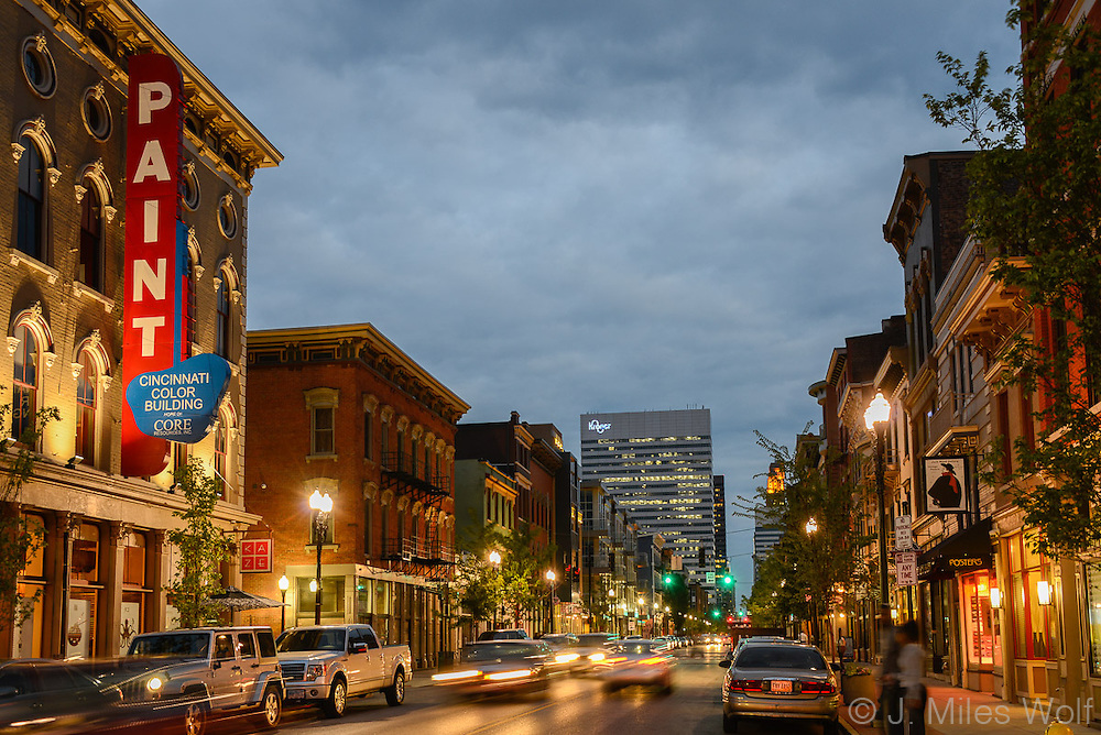 Vine Street at night in Over the Rhine