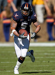 Virginia tight end Mikell Simpson (5) rushes in the open field.  The #23 Virginia Cavaliers defeated the #24 Wake Forest Demon Deacons 17-16 at Scott Stadium in Charlottesville, VA on November 3, 2007.