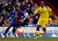 Photo: Alan Crowhurst.<br />Crystal Palace v Cardiff City. Coca Cola Championship. 04/02/2006. <br />Cameron Jerome (R) of Cardiff gets away from Mikele Leigertwood.