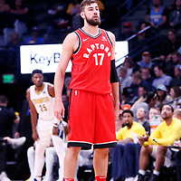 01 November 2017: Toronto Raptors center Jonas Valanciunas (17) is seen during the Denver Nuggets 129-111 victory over the Toronto Raptors, at the Pepsi Center, Denver, Colorado, USA.