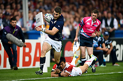 Tommy Seymour of Scotland breaks down the right wing - Mandatory byline: Patrick Khachfe/JMP - 07966 386802 - 23/09/2015 - RUGBY UNION - Kingsholm Stadium - Gloucester, England - Scotland v Japan - Rugby World Cup 2015 Pool B.