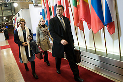 Valdis Dombrovskis, Vice-president of the European Commission for the euro and social dialogue arrives prior to the emergency Eurogroup finance ministers meeting at the European Council in Brussels, Belgium on 20.02.2015 Eurogroup head Jeroen Dijsselbloem was working overtime on February 20 to save a make-or-break meeting on Greece's demand to ease its bailout programme as Germany insisted it stick with its austerity commitments after days of sharp exchanges, the 19 eurozone finance ministers gathered for the third time in little over a week to consider Athens' take-it or leave-it proposal to extend an EU loan programme which expires this month. by Wiktor Dabkowski. EXPA Pictures © 2015, PhotoCredit: EXPA/ Photoshot/ Wiktor Dabkowski<br /> <br /> *****ATTENTION - for AUT, SLO, CRO, SRB, BIH, MAZ only*****