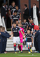 Dundee&rsquo;s Darren O&rsquo;Dea leads out the teams  - Dundee v Rangers, Ladbrokes Scottish Premiership at Dens Park<br /> <br />  - &copy; David Young - www.davidyoungphoto.co.uk - email: davidyoungphoto@gmail.com