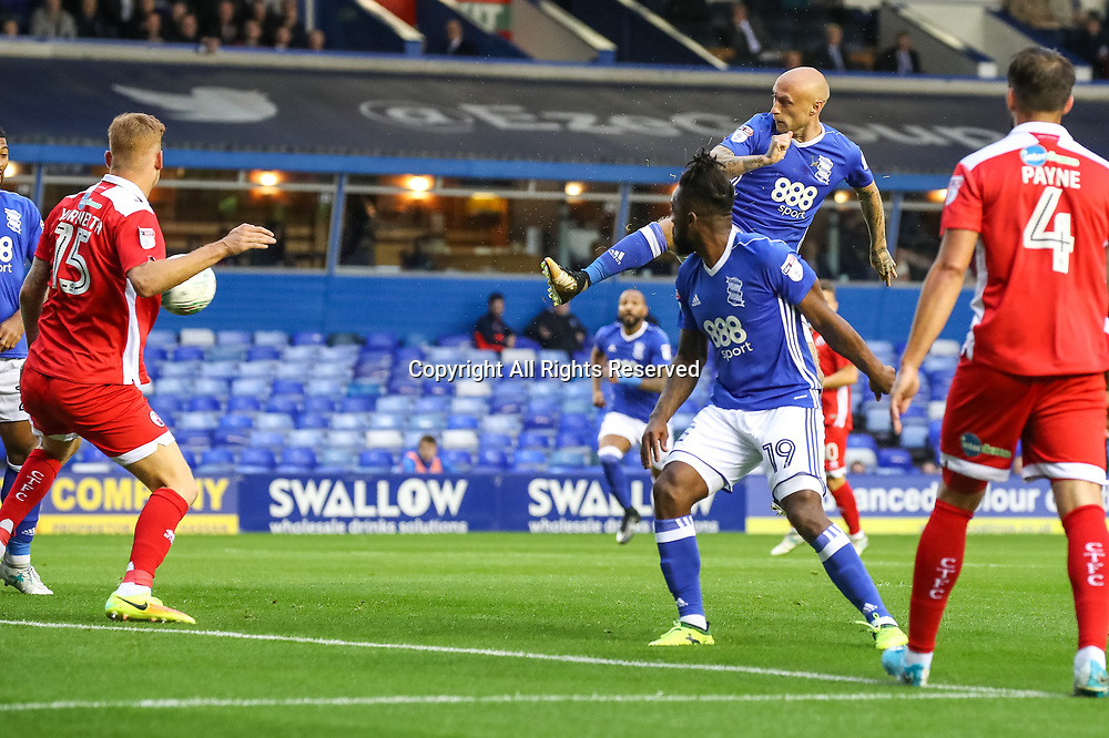 August 8th 2017, St Andrews, Birmingham, England; Carabao Cup First Round; Birmingham City versus Crawley Town; David Cotterill of Birmingham City FC climbs high to try to volley the ball into goal