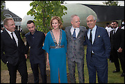 Francois-Henri Pinault ; JULIA PEYTON-JONES; HANS ULRICH OBRIST, 2014 Serpentine's summer party sponsored by Brioni.with a pavilion designed this year by Chilean architect Smiljan Radic  Kensington Gdns. London. 1July 2014
