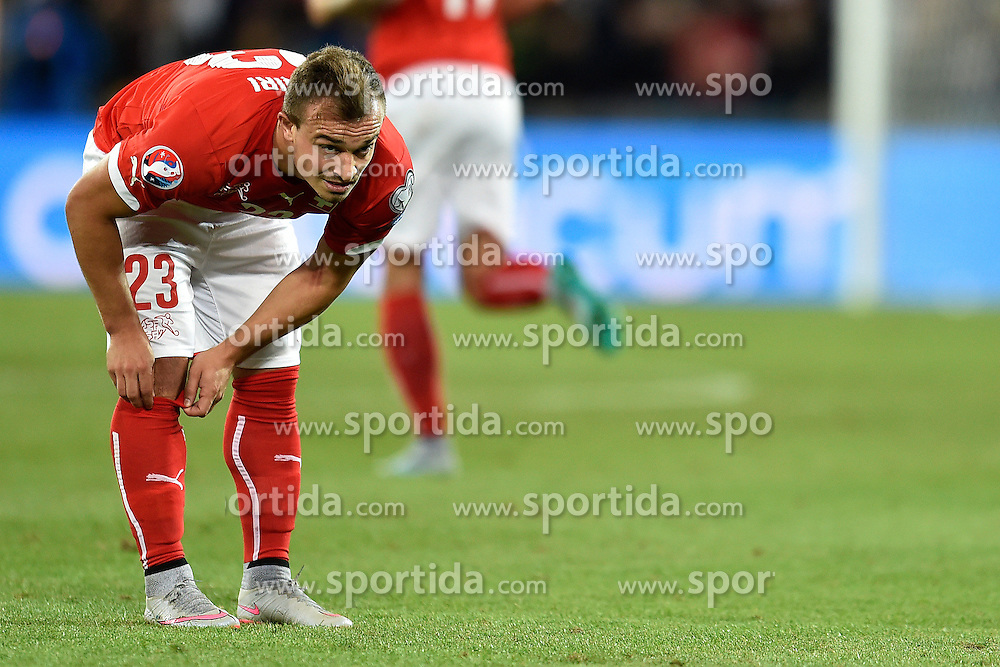 05.09.2015, St. Jakob Park, Basel, SUI, UEFA Euro 2016 Qualifikation, Schweiz vs Slowenien, Gruppe E, im Bild Xherdan Shaqiri (SUI) // during the UEFA EURO 2016 qualifier group E match between Switzerland and Slovenia at the St. Jakob Park in Basel, Switzerland on 2015/09/05. EXPA Pictures &copy; 2015, PhotoCredit: EXPA/ Freshfocus/ Urs Lindt<br /> <br /> *****ATTENTION - for AUT, SLO, CRO, SRB, BIH, MAZ only*****