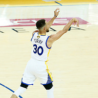 01 June 2017: Golden State Warriors guard Stephen Curry (30) takes a jump shot during the Golden State Warriors 113-90 victory over the Cleveland Cavaliers, in game 1 of the 2017 NBA Finals, at the Oracle Arena, Oakland, California, USA.