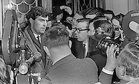 N Ireland Ulster Unionist MP, John D Taylor, talking to the media, after he led a walk-out of dissident MPs from the first meeting, 28th February 1969, of the parliamentary party following the 24th February 1969 N Ireland General Election. 196902280078<br /> <br /> Copyright Image from<br /> Victor Patterson<br /> 54 Dorchester Park<br /> Belfast, N Ireland, UK, <br /> BT9 6RJ<br /> <br /> t1: +44 28 90661296<br /> t2: +44 28 90022446<br /> m: +44 7802 353836<br /> e1: victorpatterson@me.com<br /> e2: victorpatterson@gmail.com<br /> <br /> www.victorpatterson.com