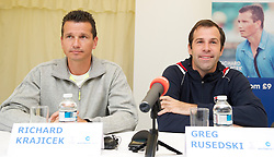 LIVERPOOL, ENGLAND - Thursday, June 16, 2011: Richard Krajicek (NED) and Greg Rusedski (GBR) at a press conference on day one of the Liverpool International Tennis Tournament at Calderstones Park. (Pic by David Rawcliffe/Propaganda)
