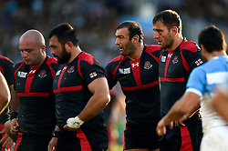Mamuka Gorgodze of Georgia rallies his fellow forwards at a scrum - Mandatory byline: Patrick Khachfe/JMP - 07966 386802 - 25/09/2015 - RUGBY UNION - Kingsholm Stadium - Gloucester, England - Argentina v Georgia - Rugby World Cup 2015 Pool C.