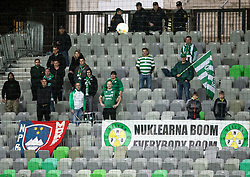Supporters of Krsko during football match between NK Olimpija Ljubljana and NK Krsko in Round #29 of Prva liga Telekom Slovenije 2018/19, on April 28th, 2019, in SRC Stozice, Ljubljana, Slovenia. Photo by Vid Ponikvar / Sportida