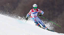 March 14, 2018 - Pyeongchang, South Korea - Spencer Wood of the US during Giant Slalom competition Wednesday, March 14, 2018 at the Jeongson Alpine Center at the Pyeongchang Winter Paralympic Games. Photo by Mark Reis (Credit Image: © Mark Reis via ZUMA Wire)