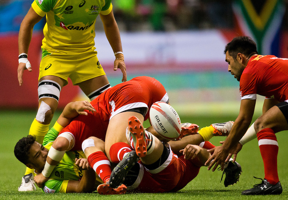 Philip Mack of Canada tries to get the ball versus Australia at the HSBC Sevens World Series XVII Round 6 at B.C. Place Stadium in Vancouver British Columbia on March 12, 2016. Canada beat Australia 14-12. (KevinLight/CBCSports)