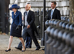 © Licensed to London News Pictures. 23/10/2018. London, UK. Prime Minister THERESA MAY, Home Secretary SAJID JAVID, and Foreign Secretary JEREMY HUNT attend a ceremony on Horse Guards Parade in London for the arrival of King Willem-Alexander and Queen Maxima of the Netherlands as part of a state visit to the UK. Photo credit: Ben Cawthra/LNP