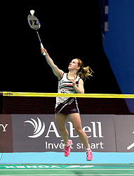 Jess Hopton of Bristol Jets hits a smash shot - Photo mandatory by-line: Robbie Stephenson/JMP - 07/11/2016 - BADMINTON - University of Derby - Derby, England - Team Derby v Bristol Jets - AJ Bell National Badminton League