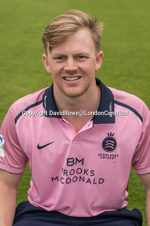 11 April 2018, London, UK.  George Scott of Middlesex County Cricket Club in the   pink Vitality T20 kit . David Rowe/ Alamy Live News