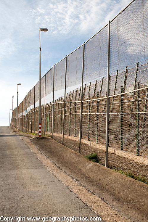 High security fences separate the Spanish exclave of Melilla, Spain from Morocco, north Africa, January 2015