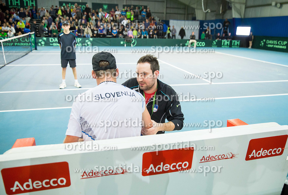 Grega Zemlja of Slovenia and Miha Mihalic during Davis Cup Slovenia vs Lithuania competition, on October 30, 2015 in Kranj, Slovenia. Photo by Vid Ponikvar / Sportida