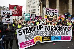 London, UK. 12th January, 2019. Supporters of Stand Up To Racism join hundreds of protesters taking part in a 'Britain is Broken: General Election Now' demonstration organised by the People's Assembly Against Austerity. Organisers argued that the overriding objective of working people in the UK should be to remove the Conservative Government from power through a general election regardless of their vote in the EU referendum.
