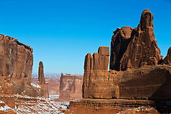 Courthouse Towers, large sandstone rock formations, Arches National Park, Utah, United States of America