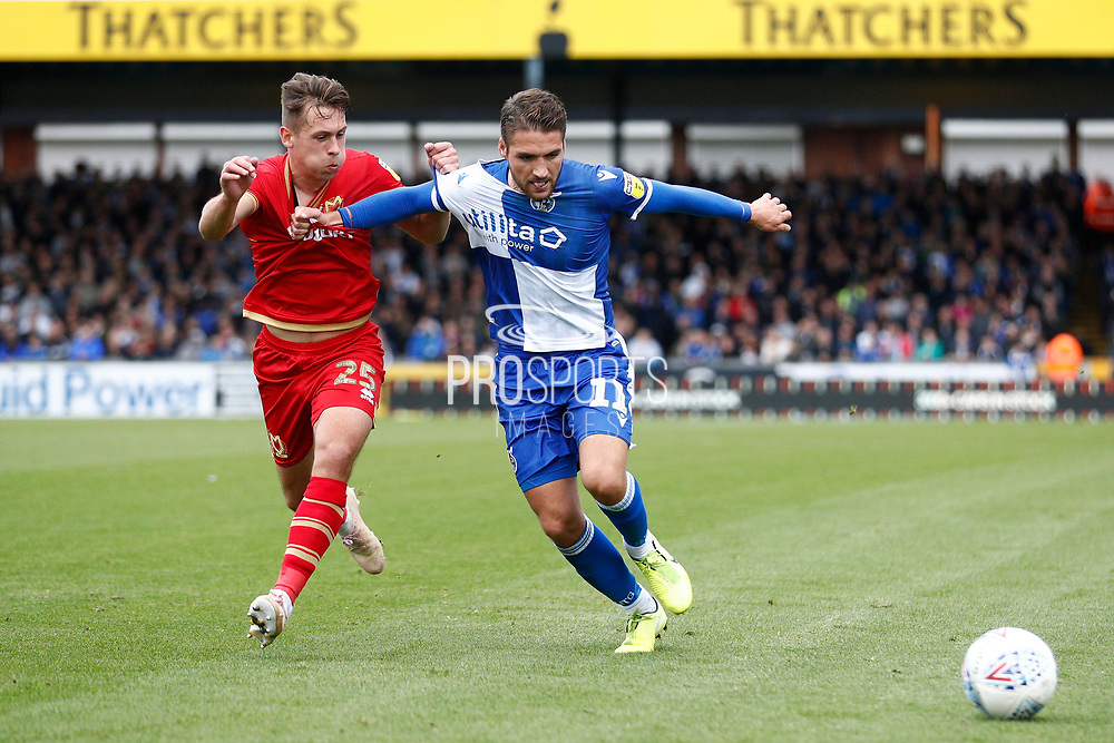 Bristol Rovers defender Luke Leahy takes on Callum Brittain (25) of Milton Keynes Dons during the EFL Sky Bet League 1 match between Bristol Rovers and Milton Keynes Dons at the Memorial Stadium, Bristol, England on 12 October 2019.