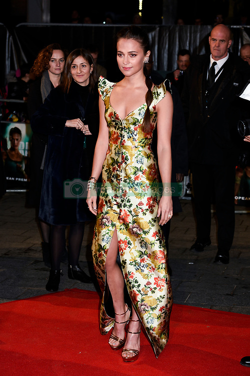 Alicia Vikander attends the Tomb Raider European Premiere at the Vue West End, London.  Picture date: Tuesday 6th March 2018.  Photo credit should read:  David Jensen/ EMPICS Entertainment