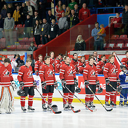WHITBY, - Dec 16, 2015 -  Game #8 - Czech Republic vs. Canada East at the 2015 World Junior A Challenge at the Iroquois Park Recreation Complex, ON.  Team Canada East starting line-up during the National Anthem.<br /> (Photo: Shawn Muir / OJHL Images)