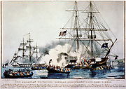 American privateer 'General Armstrong' in Port Fayal, Azores, 26 Sept. 1814, firing on 4 boats of British Marines from the 'Carnation'. Attack repelled. Next day fired on by British and scuttled by crew who escaped ashore. Print 1830.