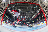 KELOWNA, BC - NOVEMBER 30:  Taylor Gauthier #35 of the Prince George Cougars scuffs the crease at the start of third period against the Kelowna Rockets at Prospera Place on November 30, 2019 in Kelowna, Canada. (Photo by Marissa Baecker/Shoot the Breeze)