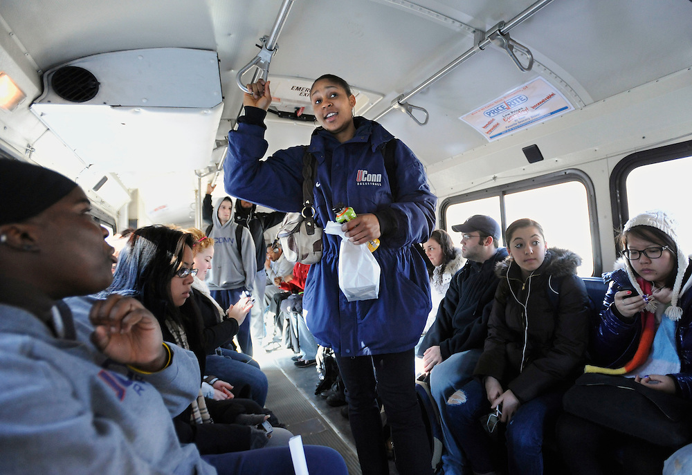 Maya Moore rides the bus to her class on campus at the University of Connecticut in Storrs, Conn., Thursday, March 3, 2011  (AP Photo/Jessica Hill)