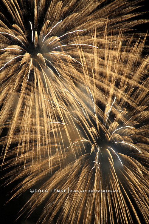 An Abstract Pattern Of Light Created By An Exploding Firework, Cincinnati, Ohio, USA