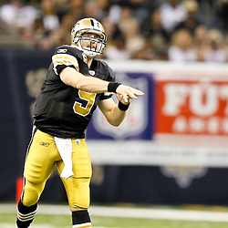 September 25, 2011; New Orleans, LA, USA; New Orleans Saints quarterback Drew Brees (9) against the Houston Texans during the third quarter at the Louisiana Superdome. The Saints defeated the Texans 40-33. Mandatory Credit: Derick E. Hingle
