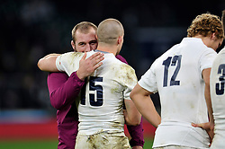 Joe Marler embraces England team-mate Mike Brown after the match - Photo mandatory by-line: Patrick Khachfe/JMP - Mobile: 07966 386802 29/11/2014 - SPORT - RUGBY UNION - London - Twickenham Stadium - England v Australia - QBE Internationals