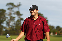 Feb 10, 2012; Pebble Beach CA, USA; Dallas Cowboys quarterback Tony Romo reacts after putting for birdie on the second hole during the second round of the AT&T Pebble Beach Pro-Am at Monterey Peninsula Country Club. Mandatory Credit: Jason O. Watson-US PRESSWIRE