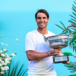 Rafael Nadal (SPA) poses with the trophy after the men Final of Roland Garros on June 9, 2019 in Paris, France. (Photo by Anthony Dibon/Icon Sport)