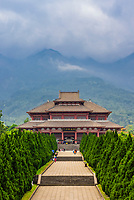 Chongsheng Temple (with the Cangshan Mountains behind), Dali, Yunnan Province, China. The temple dates from the 9th and 10th centuries.