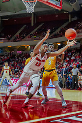 NORMAL, IL - February 05: Rey Idowu reaches for a ball headed out of bounds during a college basketball game between the ISU Redbirds and the Valparaiso Crusaders on February 05 2019 at Redbird Arena in Normal, IL. (Photo by Alan Look)