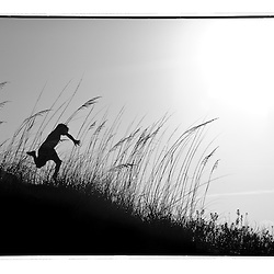 The silhouette of 2 boys as they jump through the sand dunes on Lee's Island, North Carolina.