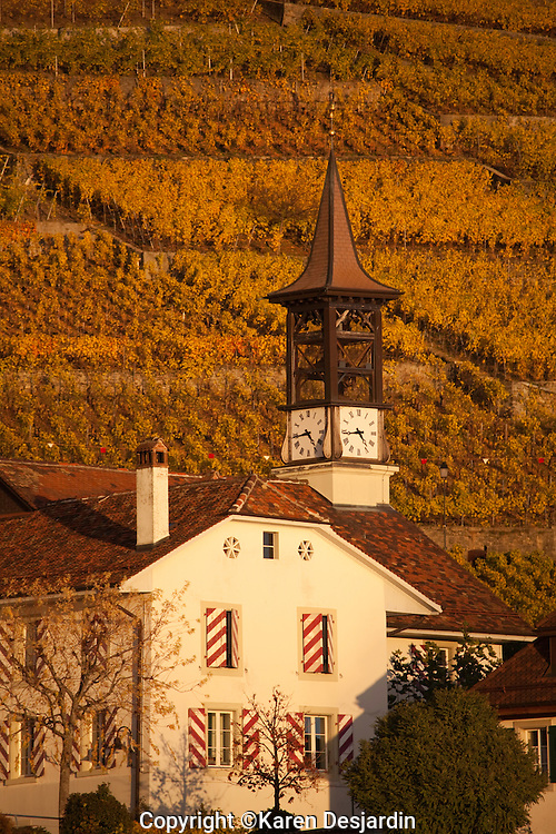 Late day light on a clock tower in the village of Aran.  Golden colored vineyards of the Lavaux wine region cover the hillside behind. http://www.gettyimages.com/detail/photo/golden-vineyards-and-village-of-aran-high-res-stock-photography/484073287