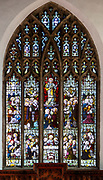 Stained glass east window Halesworth church, Suffolk, possibly Lavers, Barraud and Westlake c 1889 Ascension and Last Supper