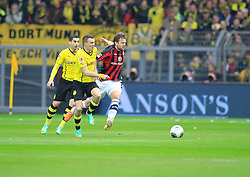 15.02.2014, Signal Iduna Park, Dortmund, GER, 1. FBL, Borussia Dortmund vs Eintracht Frankfurt, 21. Runde, im Bild Kevin Grosskreutz (Borussia Dortmund #19) im Zweikampf gegen Marco Russ (Eintracht Frankfurt #4), Aktion, Action // during the German Bundesliga 21th round match between Borussia Dortmund and Eintracht Frankfurt at the Signal Iduna Park in Dortmund, Germany on 2014/02/15. EXPA Pictures © 2014, PhotoCredit: EXPA/ Eibner-Pressefoto/ Schueler<br /> <br /> *****ATTENTION - OUT of GER*****