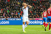 England forward Harry Kane shows frustration at a missed chance during the UEFA European 2020 Qualifier match between Czech Republic and England at Sinobo Stadium, Prague, Czech Republic on 11 October 2019.