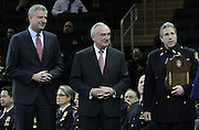 29 December-New York, NY:  New York City Mayor Bill DeBlasio, NYPD Commissioner William Bratton and Pat Lynch, Patrolman Benevolence Association President attend the 2014 New York Police Academy Graduation Ceremony held at Madison Square Garden on December 29, 2014 in New York City.  (Photo by Terrence Jennings/terrencejennings.com)