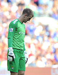 Manchester City's Joe Hart cuts a dejected figure  - Photo mandatory by-line: Joe Meredith/JMP - Tel: Mobile: 07966 386802 25/08/2013 - SPORT - FOOTBALL - Cardiff City Stadium - Cardiff -  Cardiff City V Manchester City - Barclays Premier League