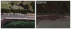 September 11, 2017 - Key West, Florida, U.S. - Before and After damage from Hurricane Irma. Elevated water levels and large waves during Hurricane Irma caused damage to A1A in Key West. (Credit Image: © USGS/ZUMA Wire/ZUMAPRESS.com)