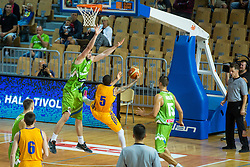Ziga Dimec of Slovenia vs Jerom Randel of Ukraine during friendly basketball match between National teams of Slovenia and Ukraineat day 1 of Adecco Cup 2015, on August 21 in Koper, Slovenia. Photo by Grega Valancic / Sportida